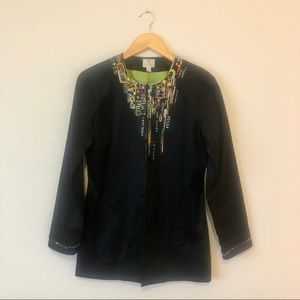 [Chico's] Beaded Long Black Jacket